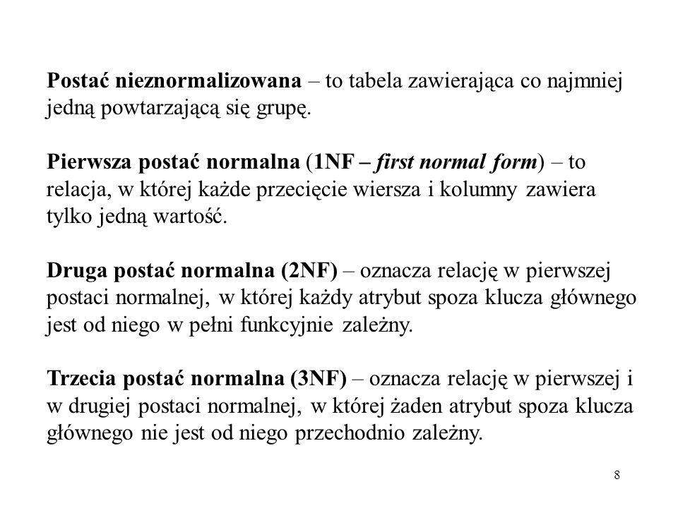 Postać nieznormalizowana – to tabela zawierająca co najmniej jedną powtarzającą się grupę.