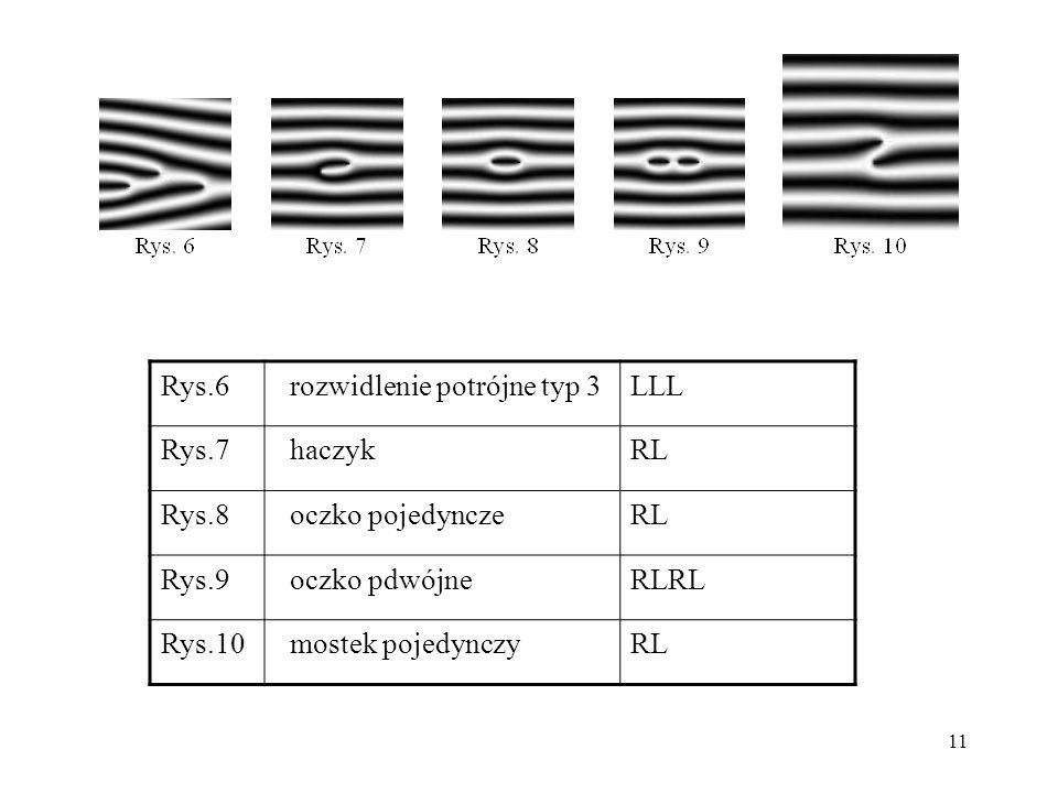 Rys.6 rozwidlenie potrójne typ 3. LLL. Rys.7. haczyk. RL. Rys.8. oczko pojedyncze. Rys.9. oczko pdwójne.