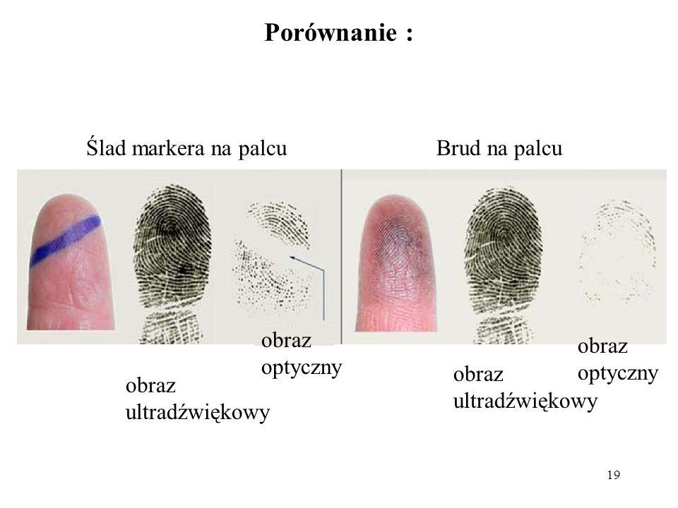 Porównanie : Ślad markera na palcu Brud na palcu obraz optyczny obraz