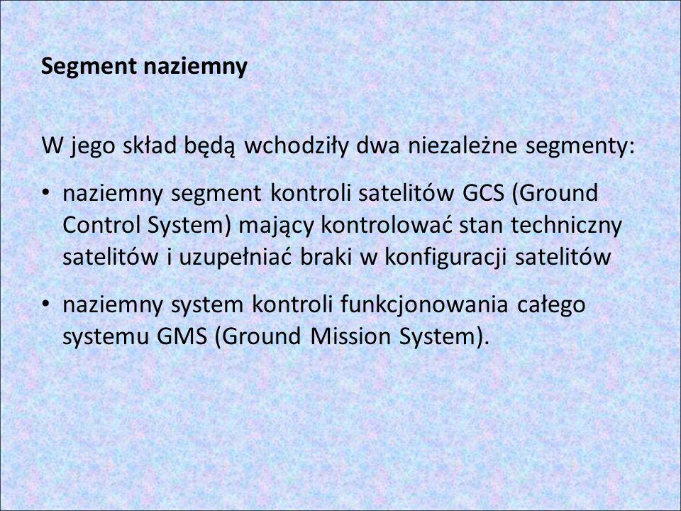 Segment naziemny W jego skład będą wchodziły dwa niezależne segmenty: