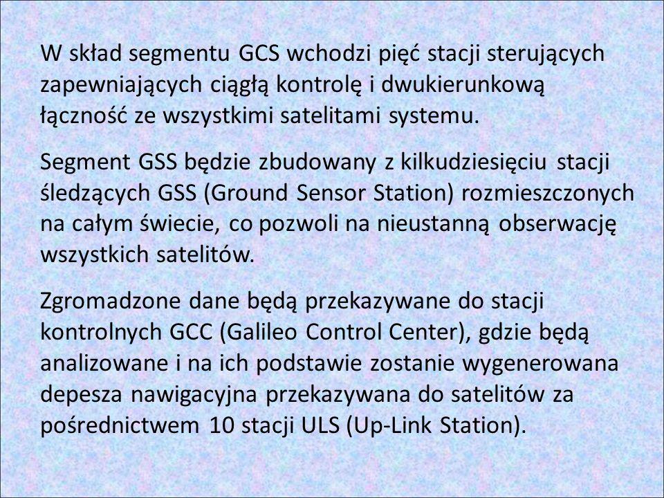 W skład segmentu GCS wchodzi pięć stacji sterujących zapewniających ciągłą kontrolę i dwukierunkową łączność ze wszystkimi satelitami systemu.