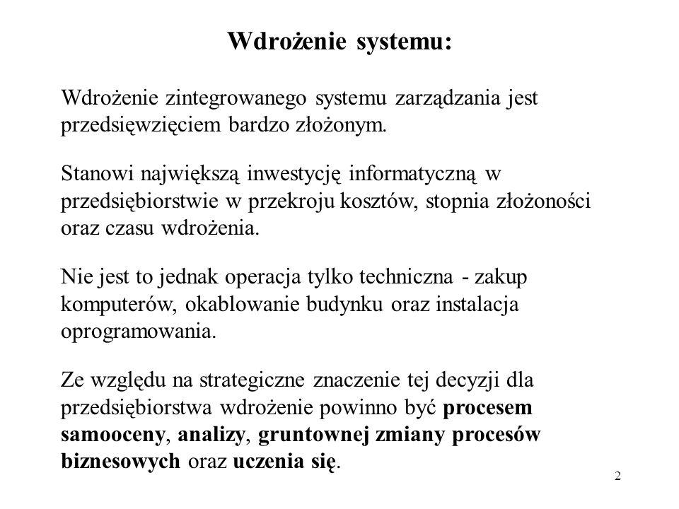 Wdrożenie systemu:Wdrożenie zintegrowanego systemu zarządzania jest przedsięwzięciem bardzo złożonym.