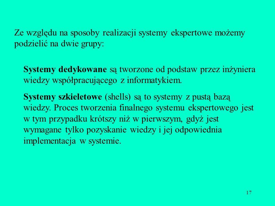 Ze względu na sposoby realizacji systemy ekspertowe możemy podzielić na dwie grupy: