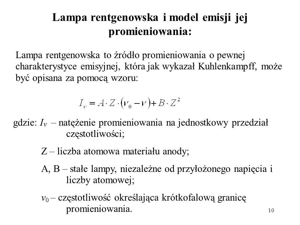 Lampa rentgenowska i model emisji jej promieniowania: