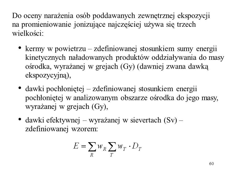 Do oceny narażenia osób poddawanych zewnętrznej ekspozycji na promieniowanie jonizujące najczęściej używa się trzech wielkości: