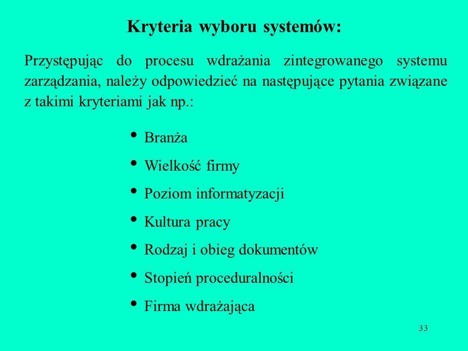 Kryteria wyboru systemów: