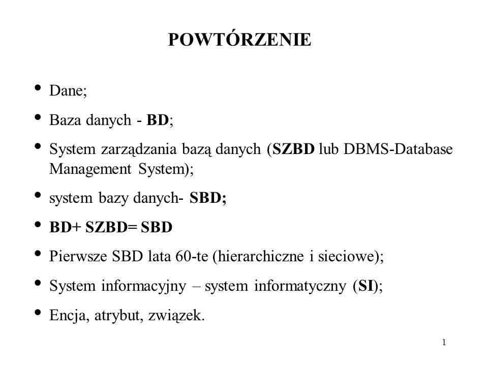 POWTÓRZENIE Dane; Baza danych - BD;