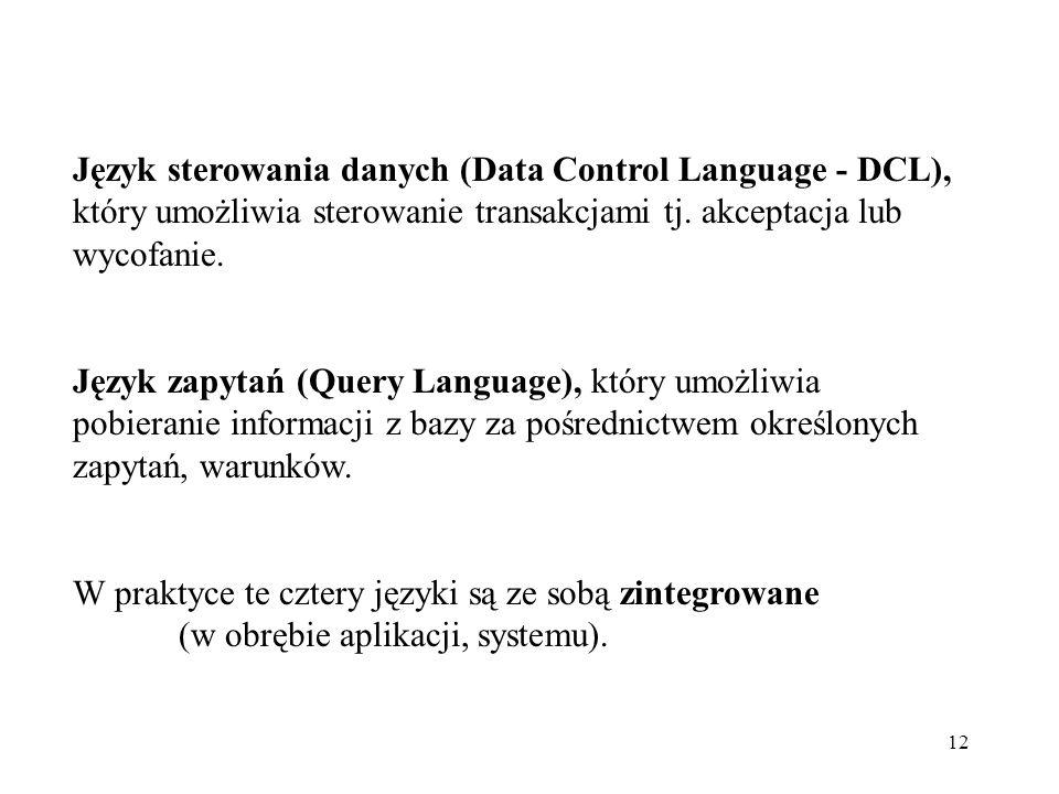 Język sterowania danych (Data Control Language - DCL), który umożliwia sterowanie transakcjami tj. akceptacja lub wycofanie.