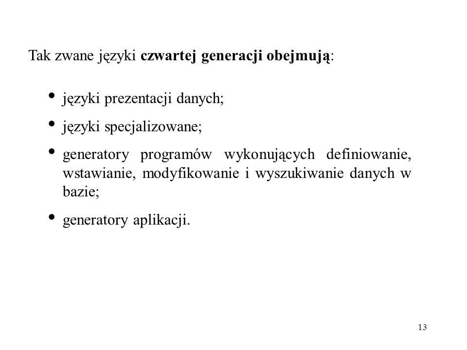 Tak zwane języki czwartej generacji obejmują:
