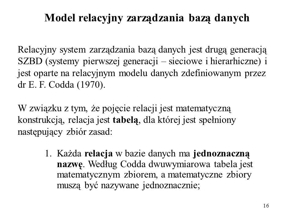 Model relacyjny zarządzania bazą danych