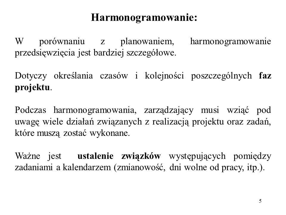 Harmonogramowanie:W porównaniu z planowaniem, harmonogramowanie przedsięwzięcia jest bardziej szczegółowe.