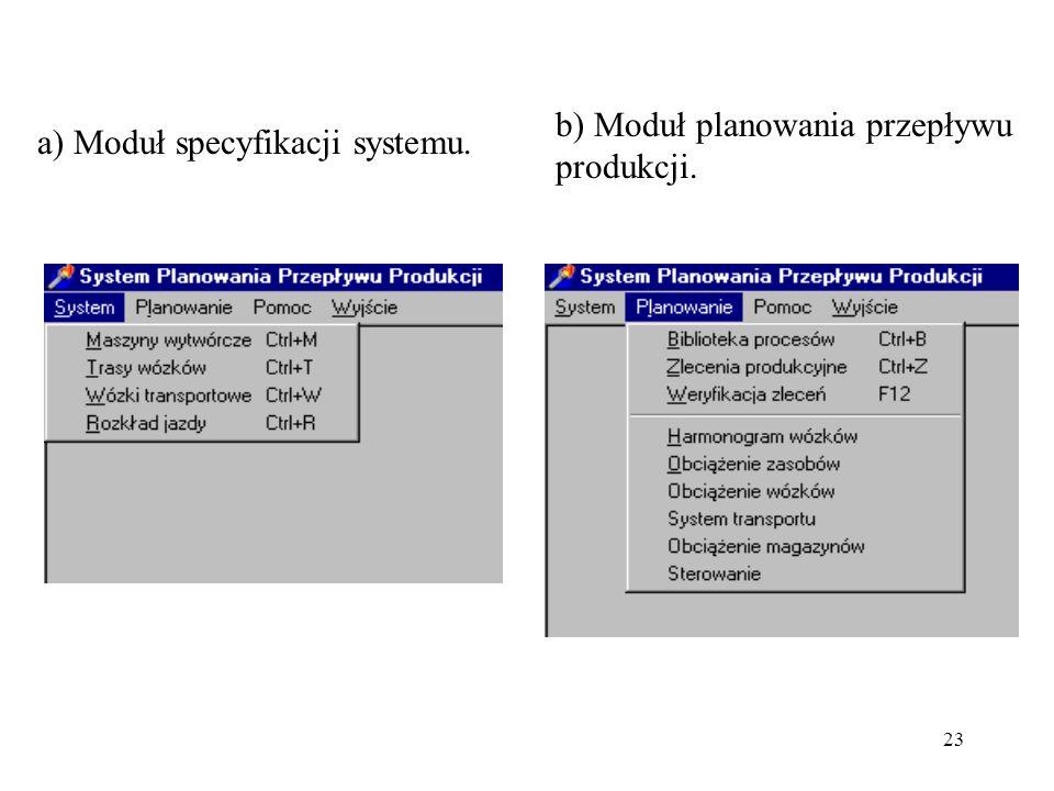 b) Moduł planowania przepływu produkcji.