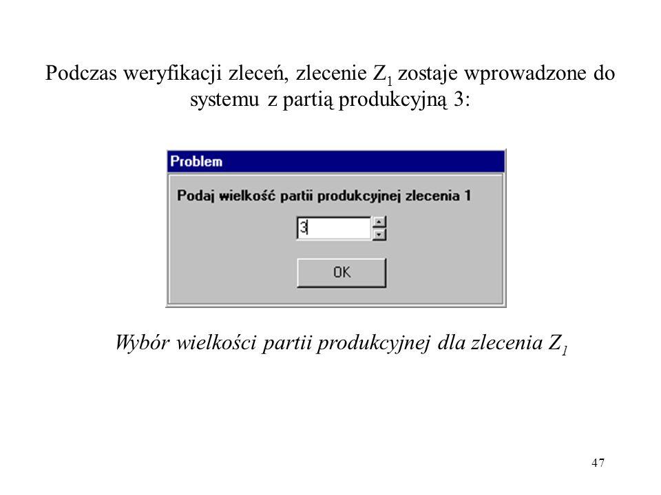Wybór wielkości partii produkcyjnej dla zlecenia Z1