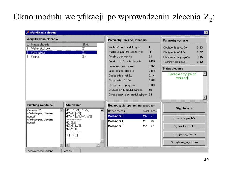 Okno modułu weryfikacji po wprowadzeniu zlecenia Z2: