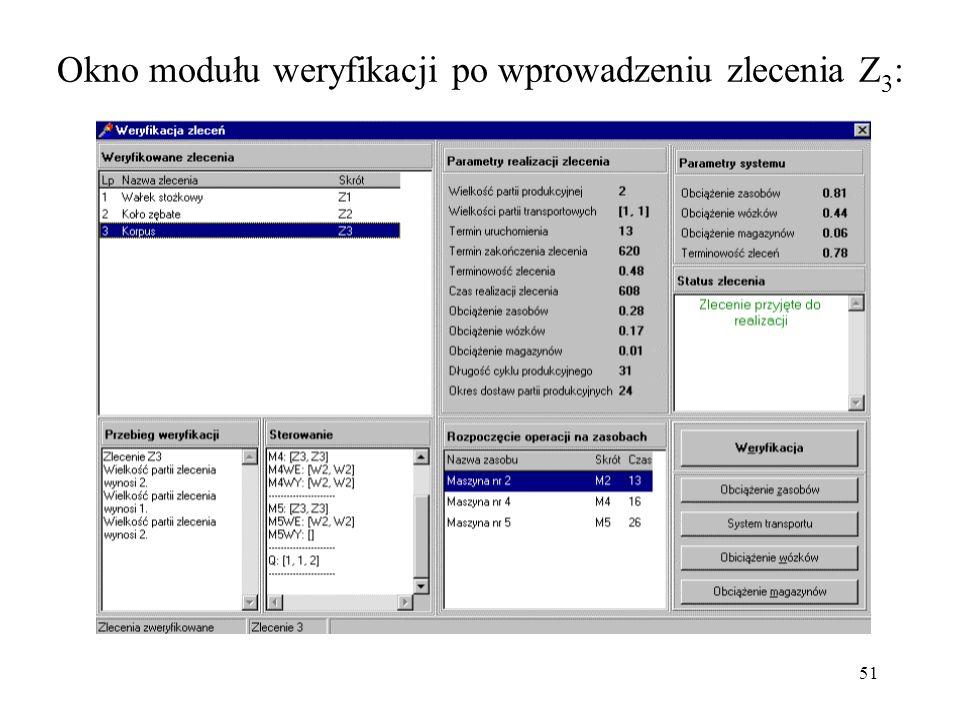 Okno modułu weryfikacji po wprowadzeniu zlecenia Z3: