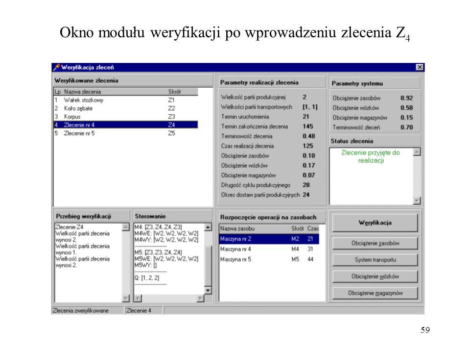 Okno modułu weryfikacji po wprowadzeniu zlecenia Z4