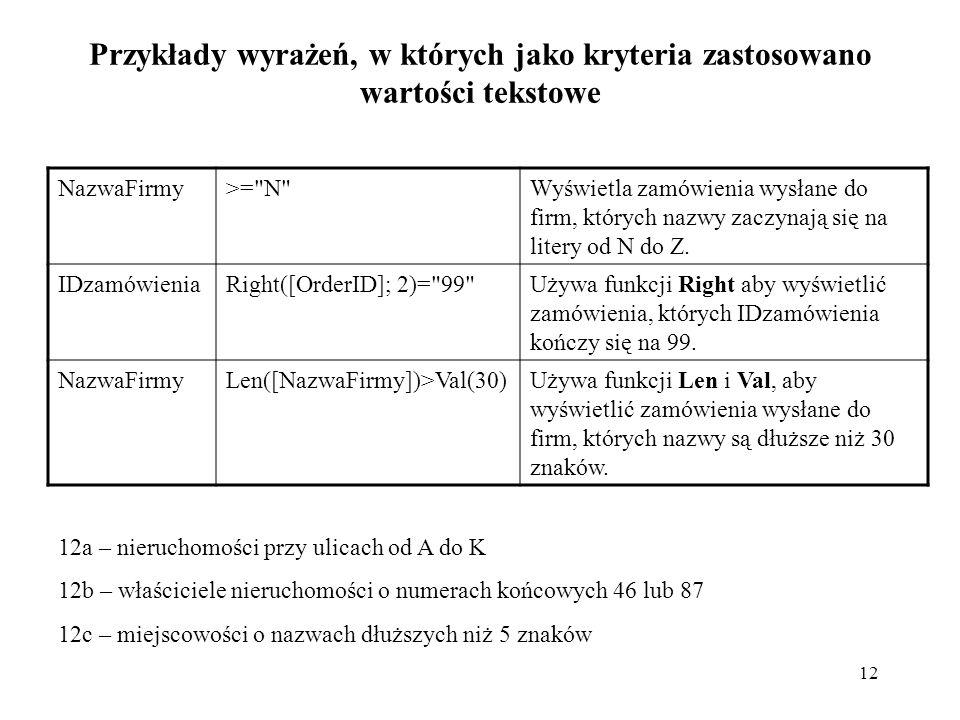 Przykłady wyrażeń, w których jako kryteria zastosowano wartości tekstowe