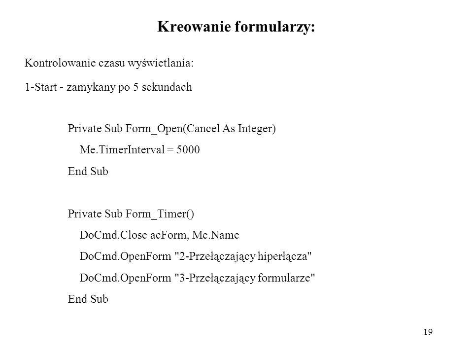 Kreowanie formularzy: