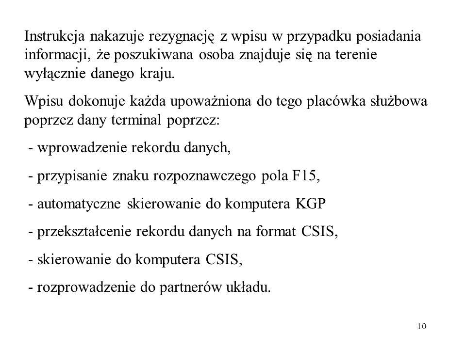 Instrukcja nakazuje rezygnację z wpisu w przypadku posiadania informacji, że poszukiwana osoba znajduje się na terenie wyłącznie danego kraju.