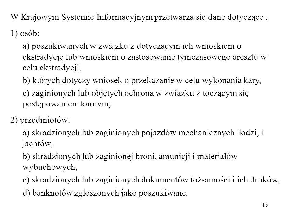 W Krajowym Systemie Informacyjnym przetwarza się dane dotyczące :