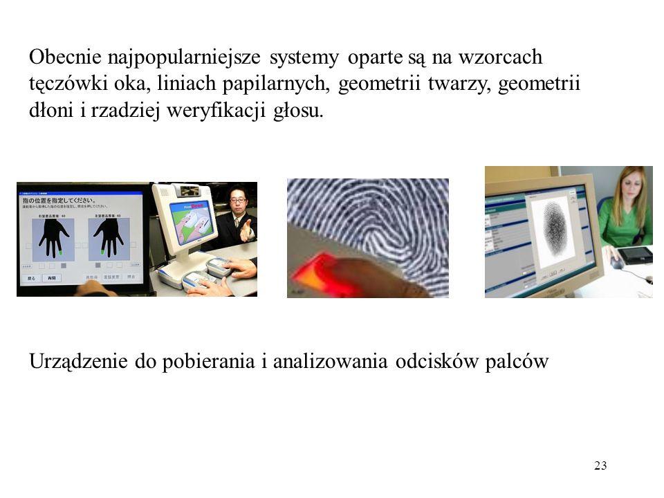 Obecnie najpopularniejsze systemy oparte są na wzorcach tęczówki oka, liniach papilarnych, geometrii twarzy, geometrii dłoni i rzadziej weryfikacji głosu.