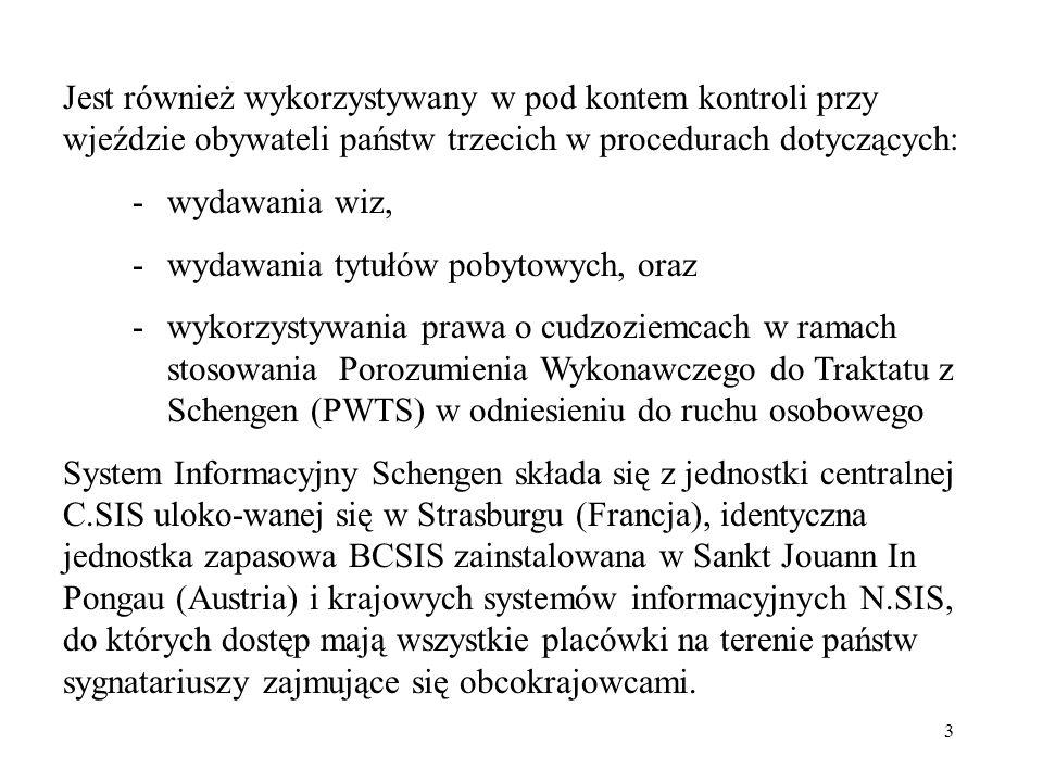 Jest również wykorzystywany w pod kontem kontroli przy wjeździe obywateli państw trzecich w procedurach dotyczących: