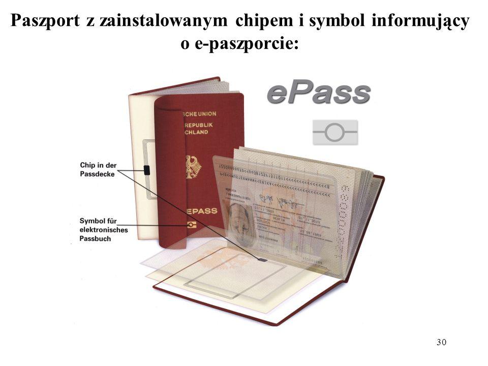 Paszport z zainstalowanym chipem i symbol informujący o e-paszporcie: