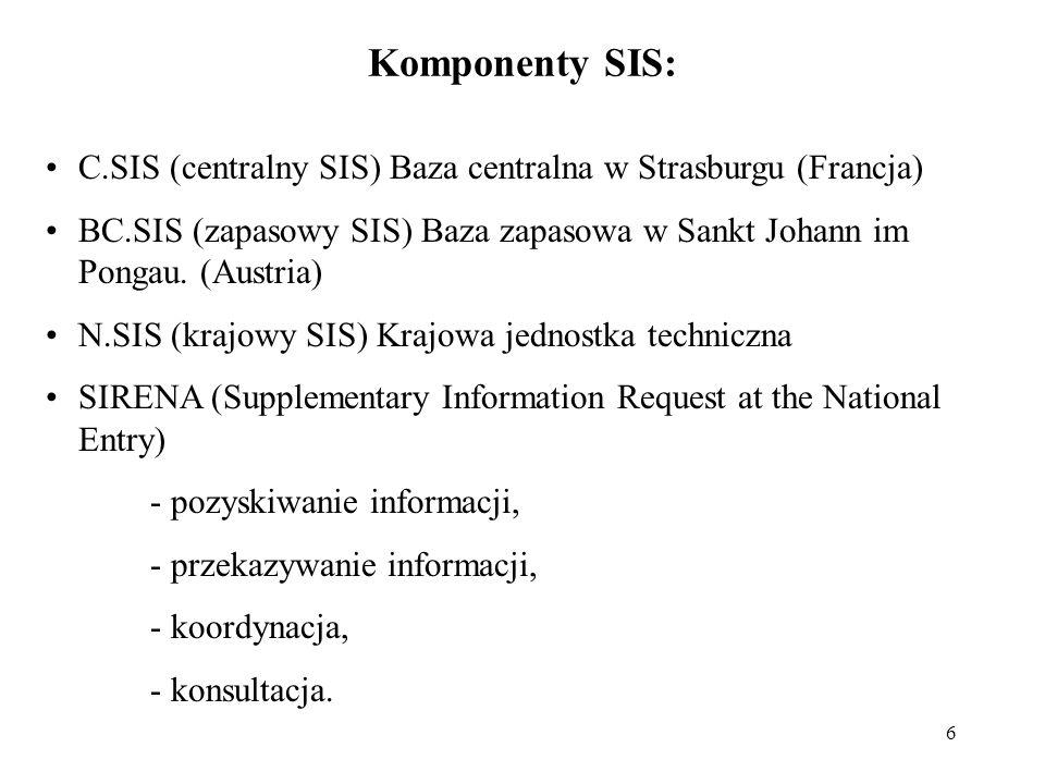 Komponenty SIS: C.SIS (centralny SIS) Baza centralna w Strasburgu (Francja) BC.SIS (zapasowy SIS) Baza zapasowa w Sankt Johann im Pongau. (Austria)