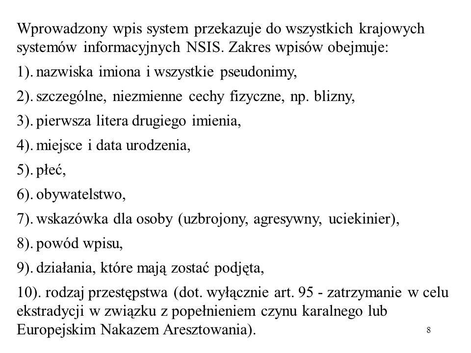 Wprowadzony wpis system przekazuje do wszystkich krajowych systemów informacyjnych NSIS. Zakres wpisów obejmuje:
