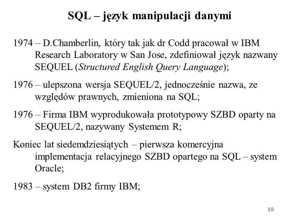 SQL – język manipulacji danymi