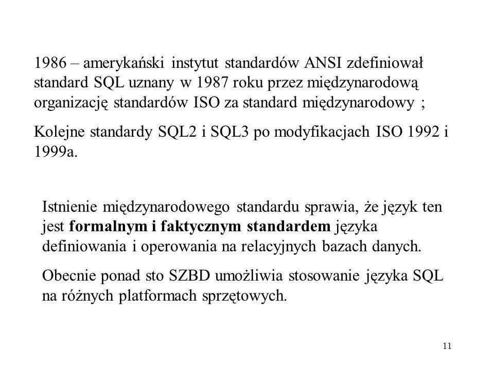 1986 – amerykański instytut standardów ANSI zdefiniował standard SQL uznany w 1987 roku przez międzynarodową organizację standardów ISO za standard międzynarodowy ;