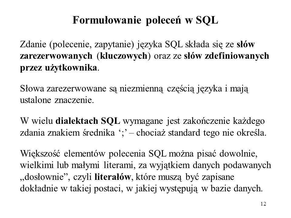 Formułowanie poleceń w SQL
