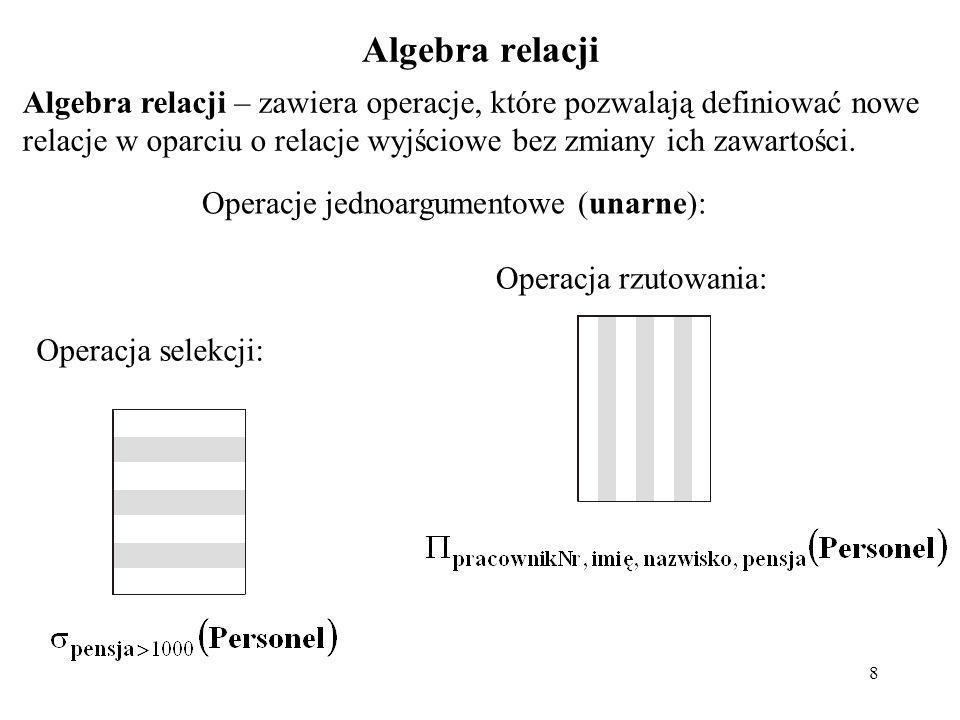 Operacje jednoargumentowe (unarne):