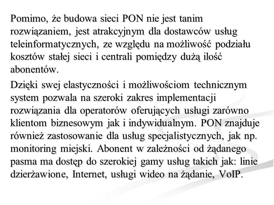 Pomimo, że budowa sieci PON nie jest tanim rozwiązaniem, jest atrakcyjnym dla dostawców usług teleinformatycznych, ze względu na możliwość podziału kosztów stałej sieci i centrali pomiędzy dużą ilość abonentów.