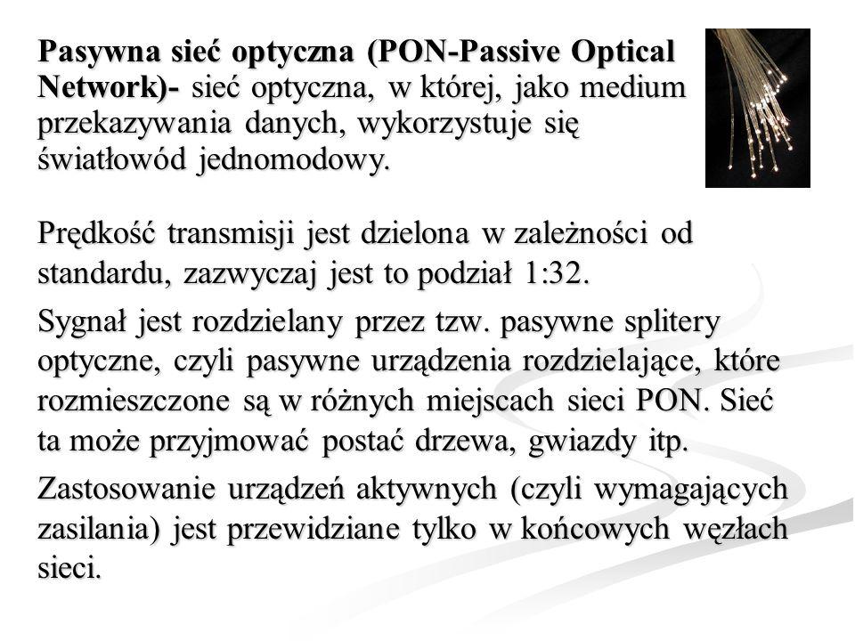 Pasywna sieć optyczna (PON-Passive Optical Network)- sieć optyczna, w której, jako medium przekazywania danych, wykorzystuje się światłowód jednomodowy.