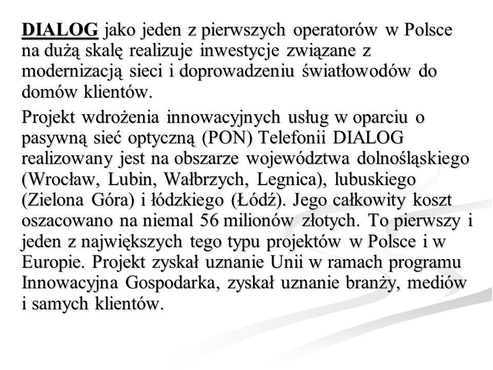 DIALOG jako jeden z pierwszych operatorów w Polsce na dużą skalę realizuje inwestycje związane z modernizacją sieci i doprowadzeniu światłowodów do domów klientów.
