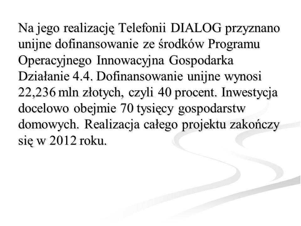 Na jego realizację Telefonii DIALOG przyznano unijne dofinansowanie ze środków Programu Operacyjnego Innowacyjna Gospodarka Działanie 4.4.