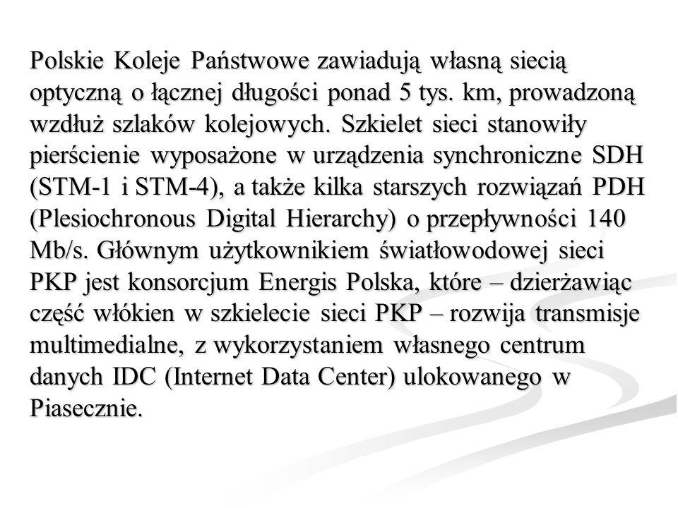 Polskie Koleje Państwowe zawiadują własną siecią optyczną o łącznej długości ponad 5 tys.