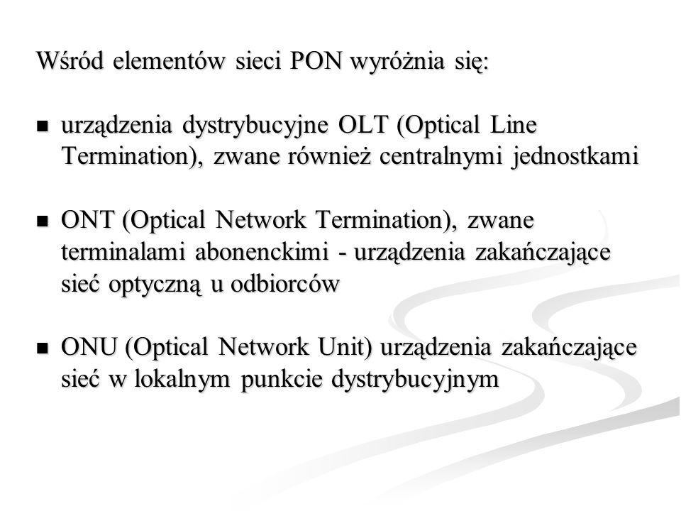 Wśród elementów sieci PON wyróżnia się:
