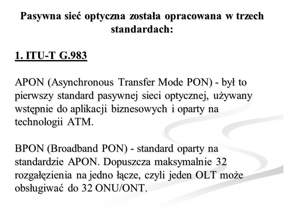 Pasywna sieć optyczna została opracowana w trzech standardach: