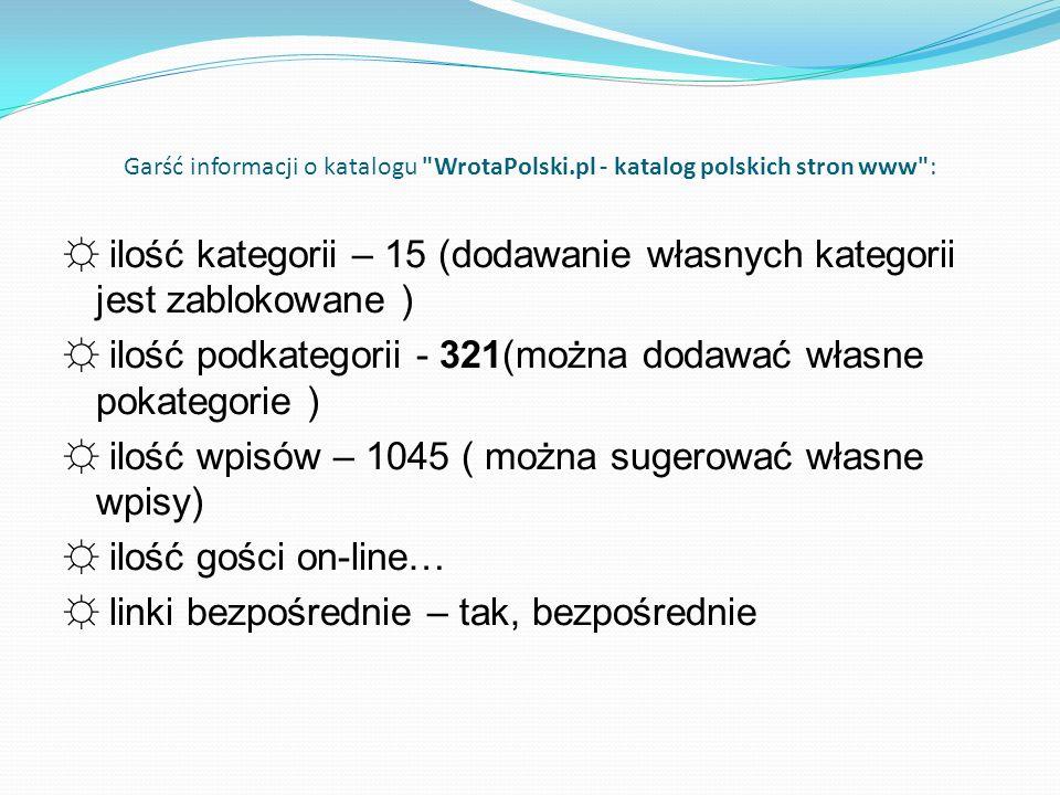 Garść informacji o katalogu WrotaPolski