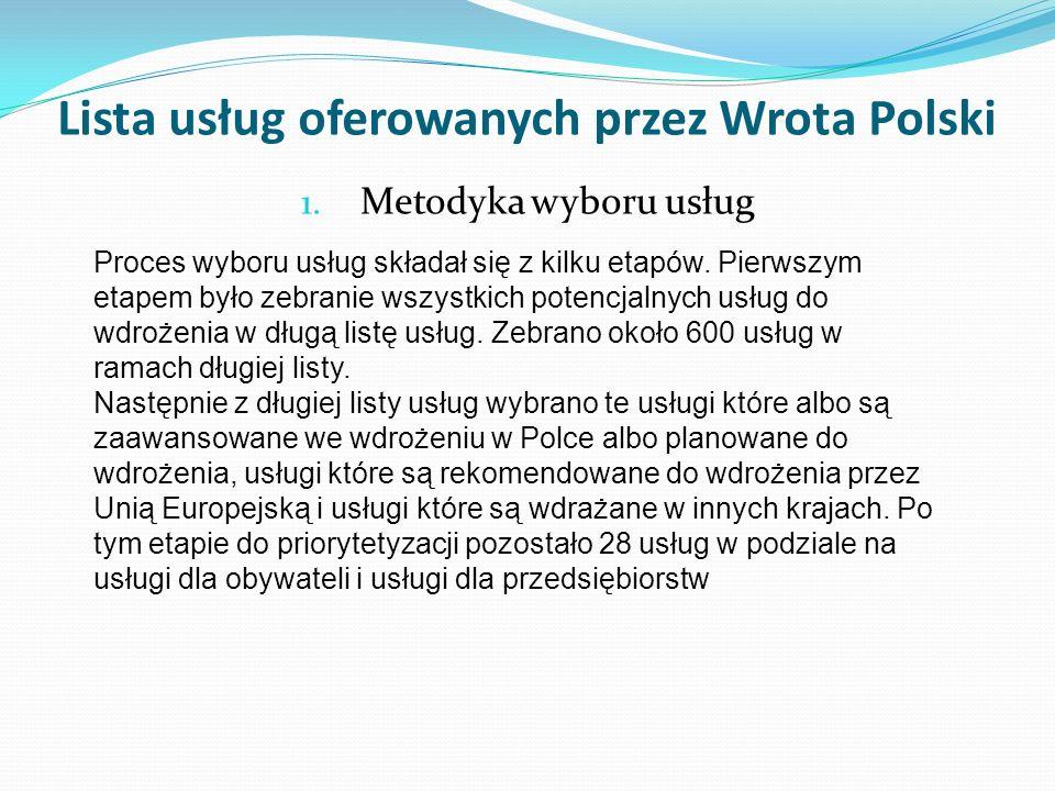 Lista usług oferowanych przez Wrota Polski