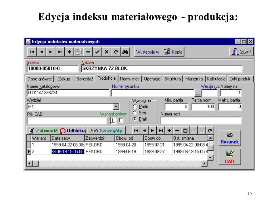 Edycja indeksu materiałowego - produkcja:
