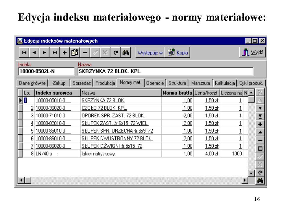 Edycja indeksu materiałowego - normy materiałowe: