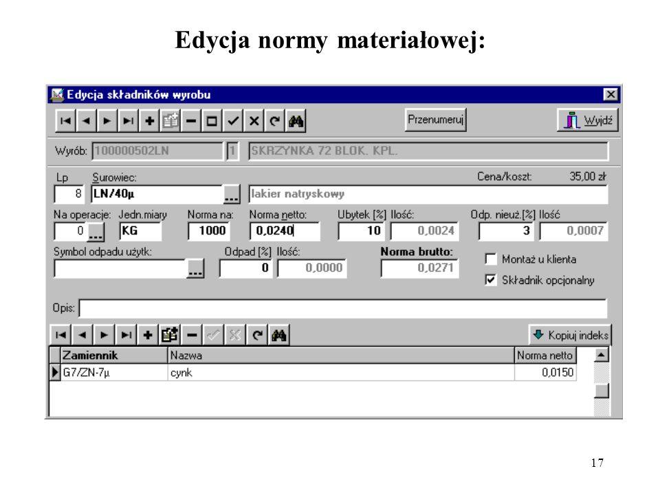 Edycja normy materiałowej: