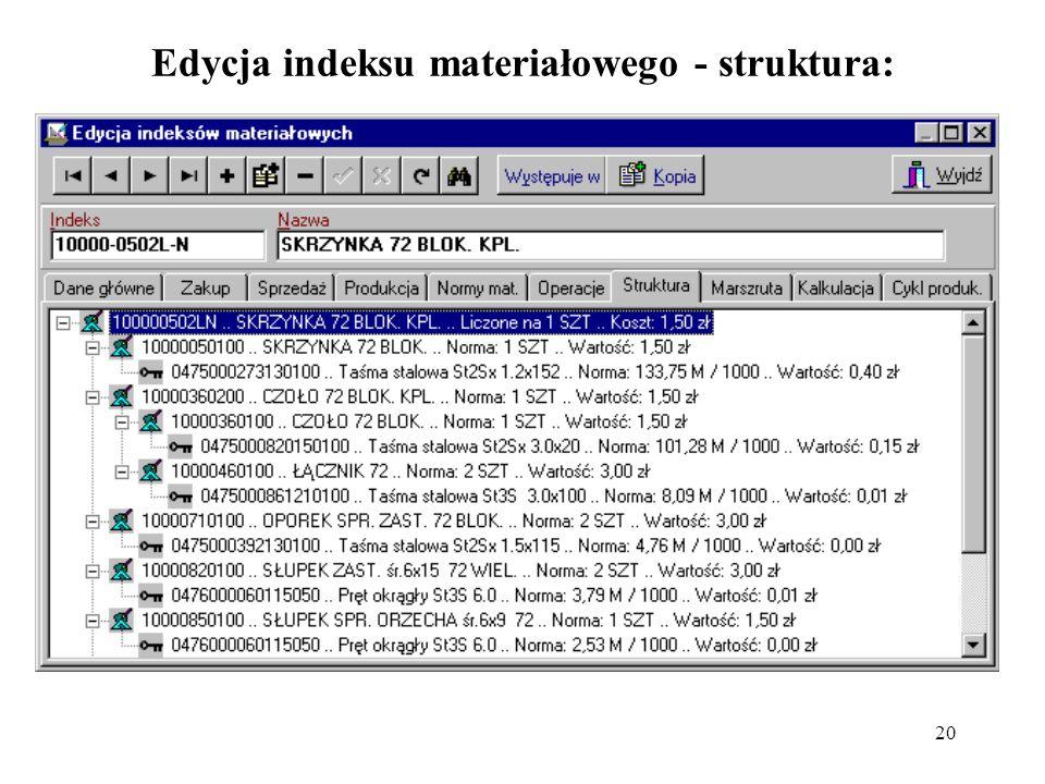 Edycja indeksu materiałowego - struktura: