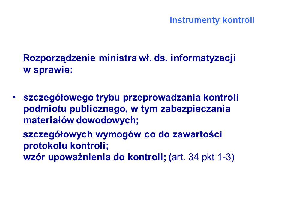 Rozporządzenie ministra wł. ds. informatyzacji w sprawie: