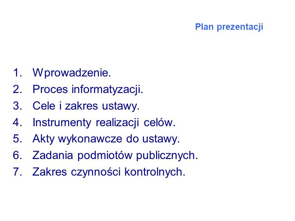 Proces informatyzacji. Cele i zakres ustawy.
