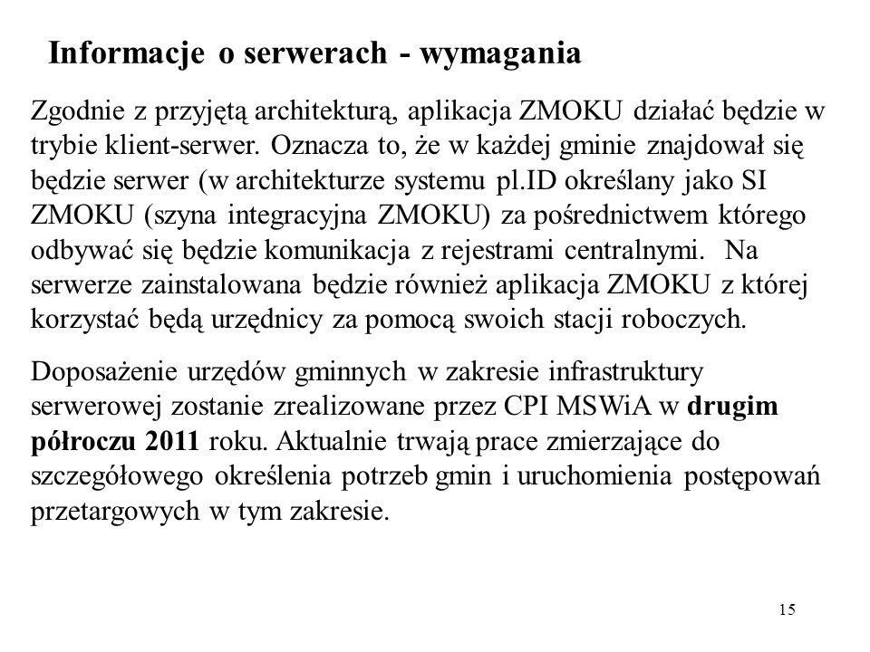 Informacje o serwerach - wymagania