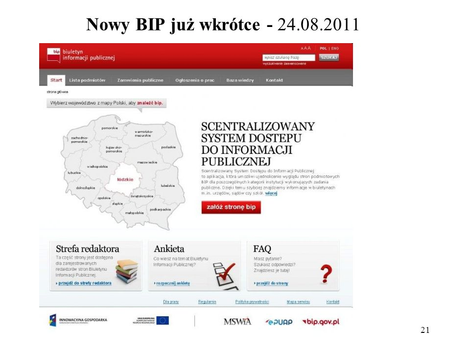 Nowy BIP już wkrótce - 24.08.2011